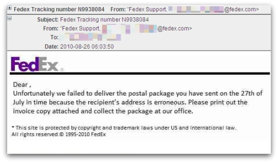 Outbreak Fake Fedex Tracking Number Emails Carry Malware Naked Security