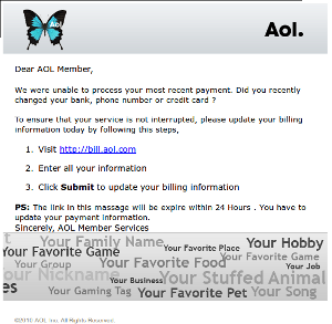 Screenshot of AOL phishing email