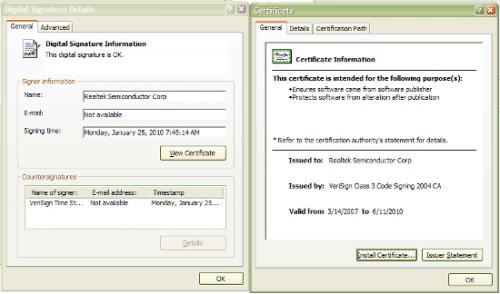 Screenshot of Stuxnet stolen certificates