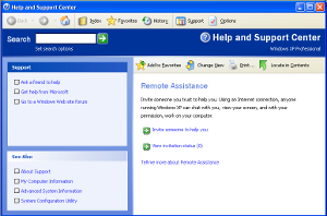 Screenshot of Windows Help Center in Windows XP