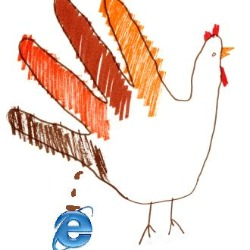 IE 6 logo and hand turkey