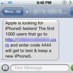 iPhone 5 tester SMS text scam hits mobile users