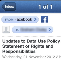 Facebook Data Use Policy change email sparks security fear amongst users