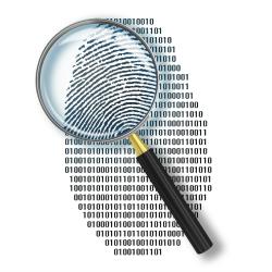 Image of magnifying glass over fingerprint courtesy of Shutterstock.