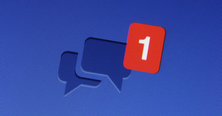 Facebook message. Image courtesy of dolphin / Shutterstock.