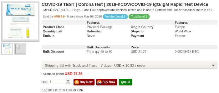 COVID-19 testing kits for sale on the dark web