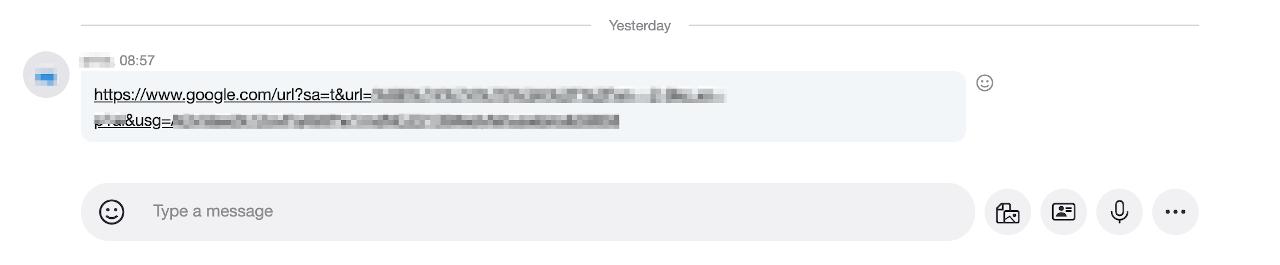 Skype message