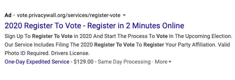 Illegal voting scam ad