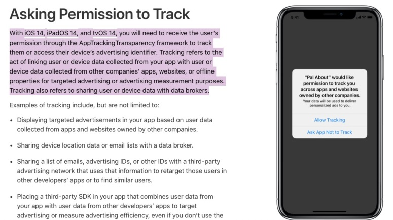 Apps' permission to track